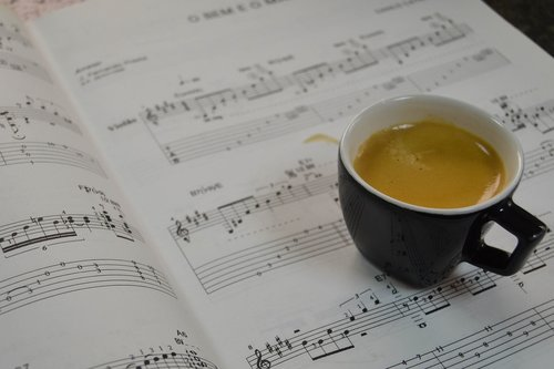 coffee  music sheet  music