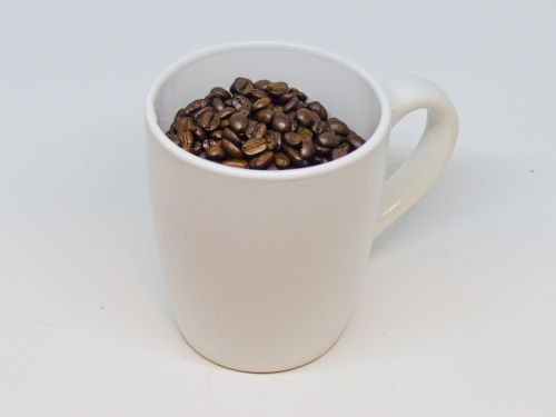 Coffee Beans In A Coffee Cup