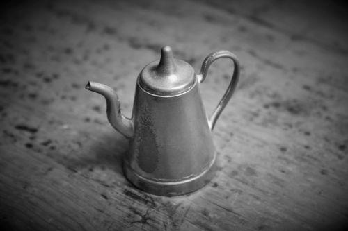 Coffee Kettle Ornament, B & W