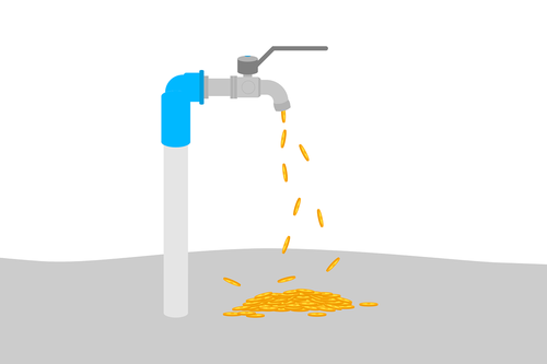 coin  water faucet  cash