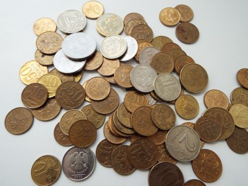 coins handful ruble