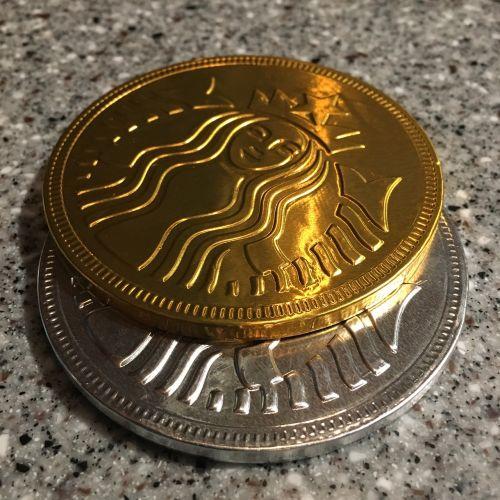 coins white chocolate black chocolate