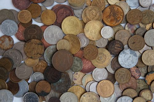 coins handful russia