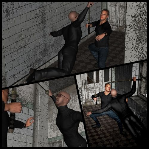 collage fight action