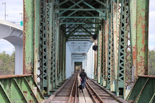 collapsed bridge bath maine railroad tracks railroad