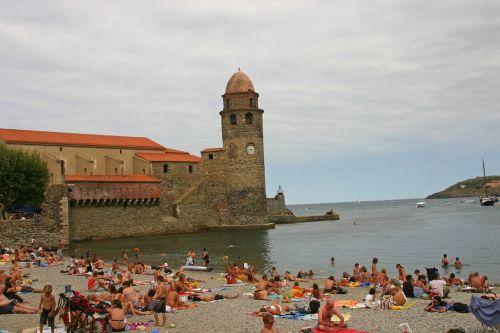 collioure beach bell tower