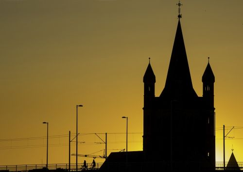 cologne churches sunset