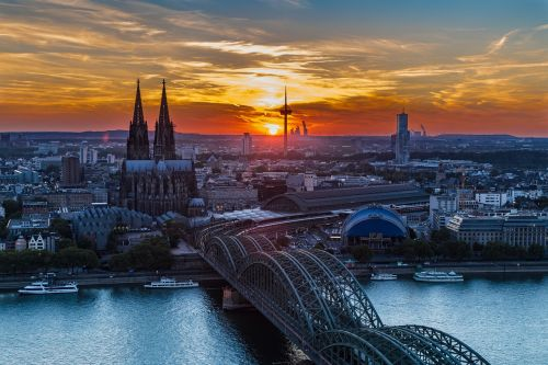 cologne cologne cathedral sunset