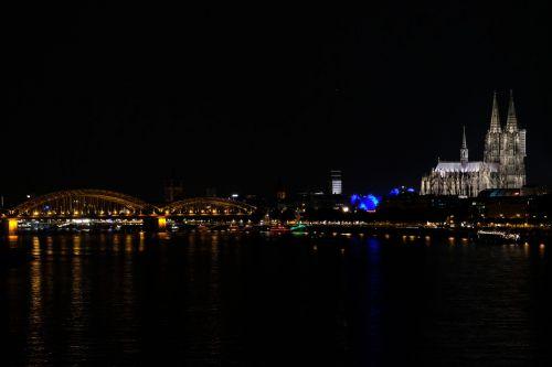 cologne night hohenzollern bridge