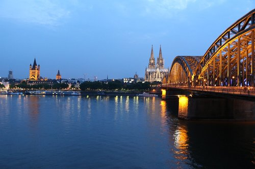 cologne  cologne cathedral  hohenzollern bridge