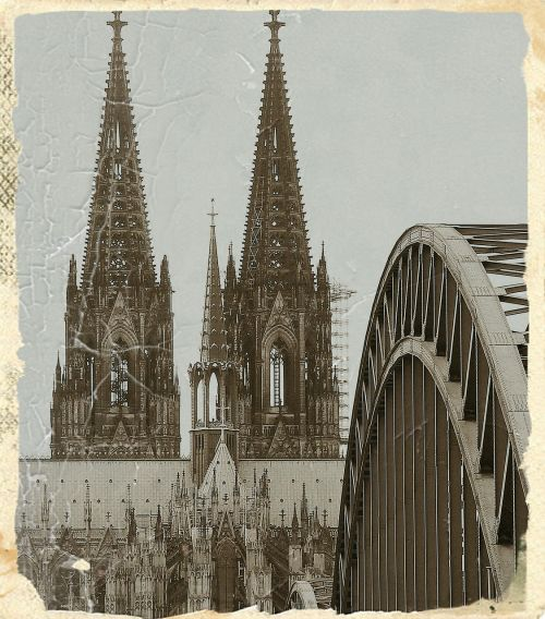 cologne cathedral antique hohenzollern bridge