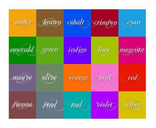 spalva,Bernstein,violetinė,smaragdo žalia,akvamarinas,šviesiai žalia,neonas žalia,raudona,žalias,Indigo,indigo mėlynas,Sienna,plienas,violetinė,geltona,raudona,rožinis,oranžinė,ruda,kobaltas,ciyan,kvadratas,išdėstymas,plytelės,estetika,spalvų diagrama,spalvinga,mėlynas