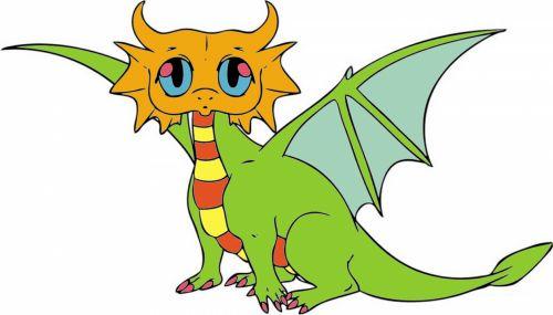 kūdikis, drakonas, spalva, animacinis filmas, izoliuotas, gyvūnas, žalias, balta, fonas, kinai, asija, charakteris, tradicija, legenda, vaikai, spalvos drakonas