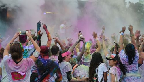 color run festivals people colorful