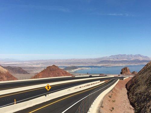 colorado river  road to hoover dam  hoover dam