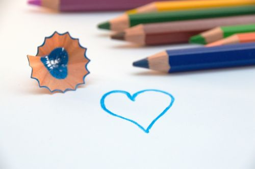 colored pencils paint heart