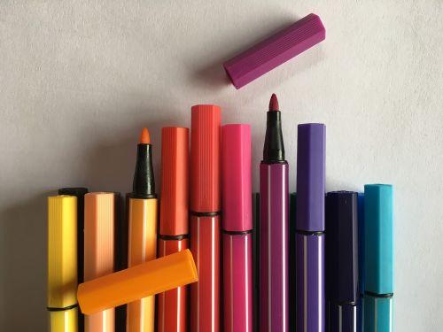 colored pencils felt tip pens crayons