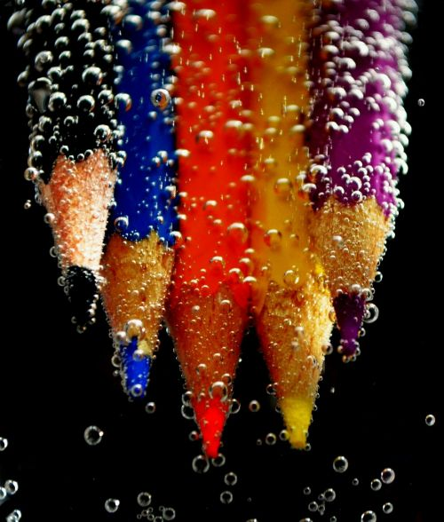 colored pencils water blow