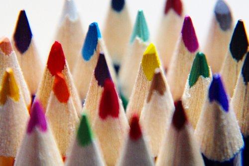 colored pencils  pens  paint