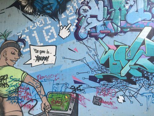 colorful comic graffiti