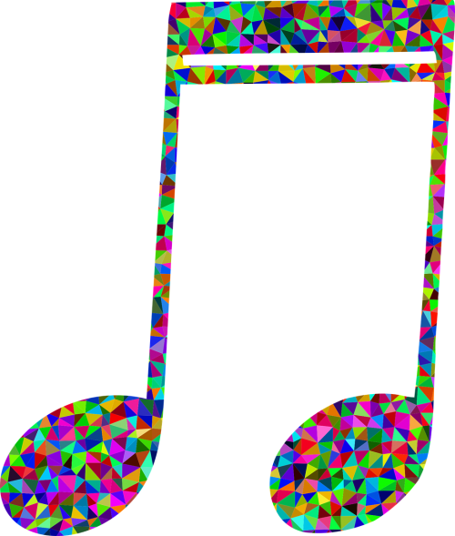 spalvinga,prizminis,chromatinis,vaivorykštė,trikampiai,trikampis,mažas poli,poligonas,abstraktus,geometrinis,menas,muzika,muzikinė pastaba,garsas,klausymasis,ausys,garso įrašas,nemokama vektorinė grafika