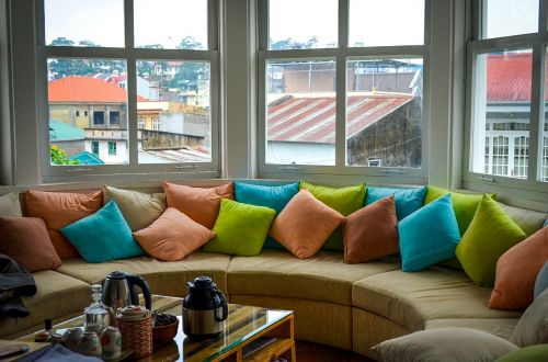 colorful pillows windows
