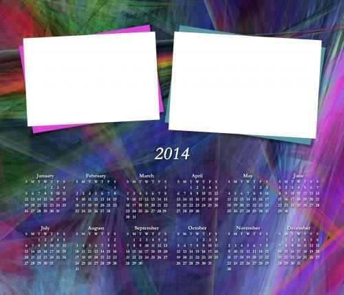 Colorful 2014 Calendar Add Pics V2