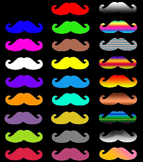 colorful mustache color