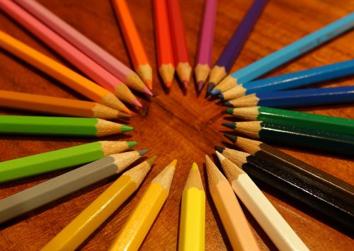 colorful colored pencils pens