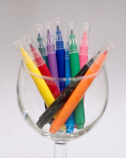 colorful pens colored pencils