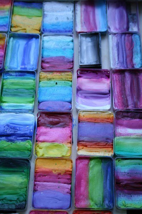 colorful color paint boxes