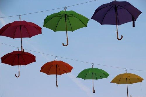 colorful  umbrellas  blue sky