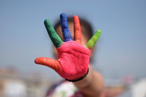 colorful  five fingers  kid