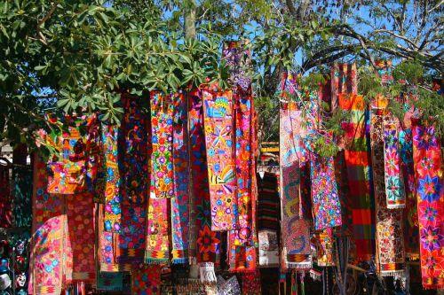 spalvinga, spalvingi kaklaskarės, spalva, menas, audinys, mexikanisches amatų, amatų, tekstilė, skara, išėjęs į pensiją, šviesus, rankšluosčiai