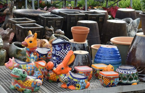 colorful ceramic pots animals painted