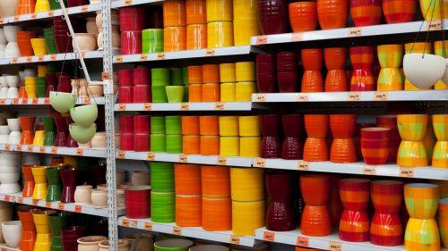 šviesus, spalva, spalvinga, spalvos, keramika, konteineris, apdaila, skirtingos, įvairovė, puodą, puodai, eilutė, gyvas, gyvas, tekstūra, fonas, modelis, spalvoti keraminiai puodai