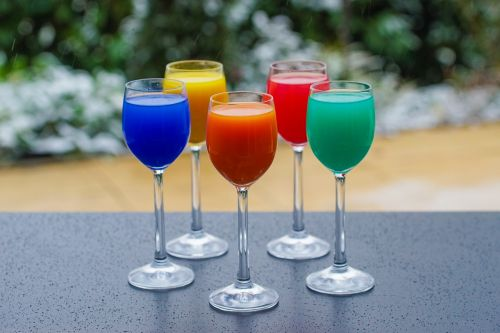 colorful drinks glasses drink