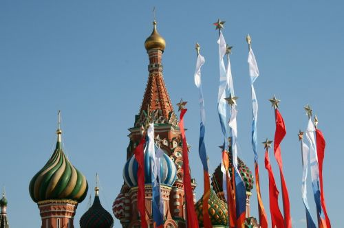 colorful flags victory day flags red square