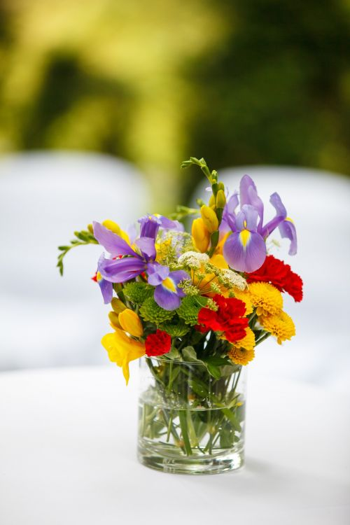 Colorful Flowers On A Table