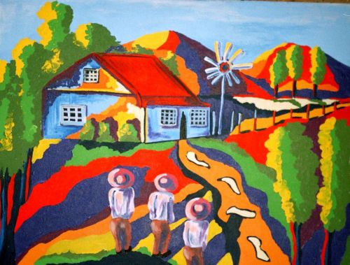 colorful landscape hand painted acrylic