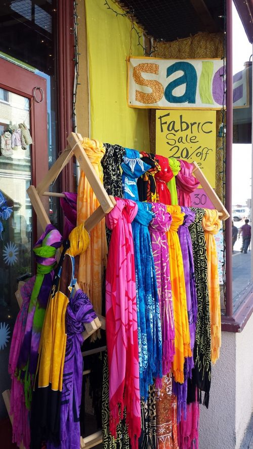 colorful scarves fabric store