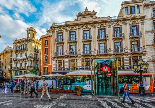 Colorful Street In Barcelona