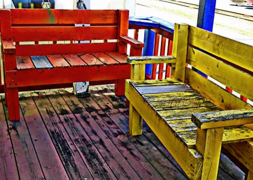 Colorful Wooden Benches