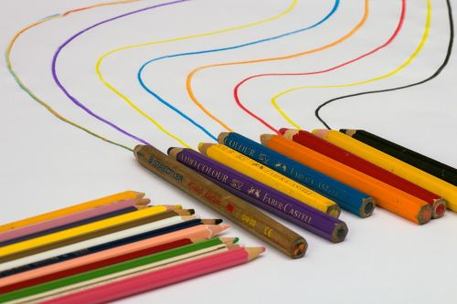 colorful wooden pegs still life draw