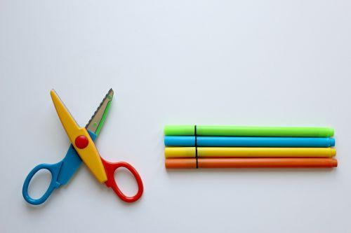 colour pencils scissors crayons
