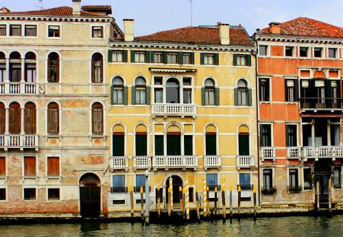 colourful houses grand canal