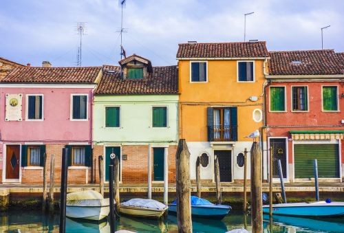 colourful houses homes boats