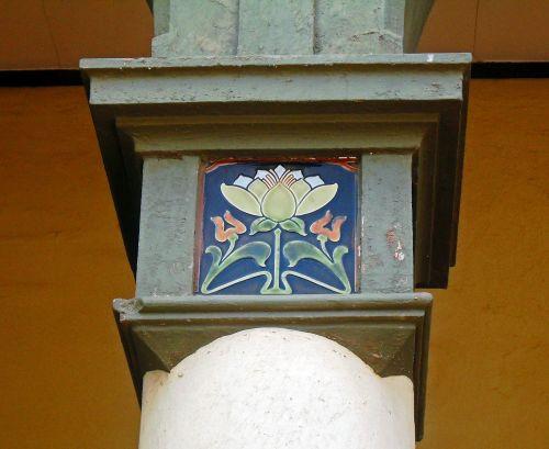 Colourful Tile On Pillar