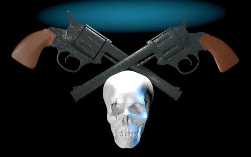 colt pistol skull