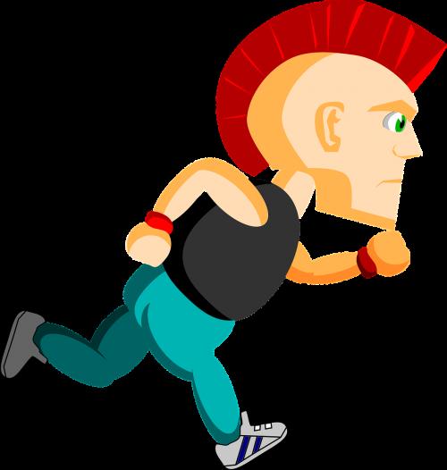 comic characters punk running